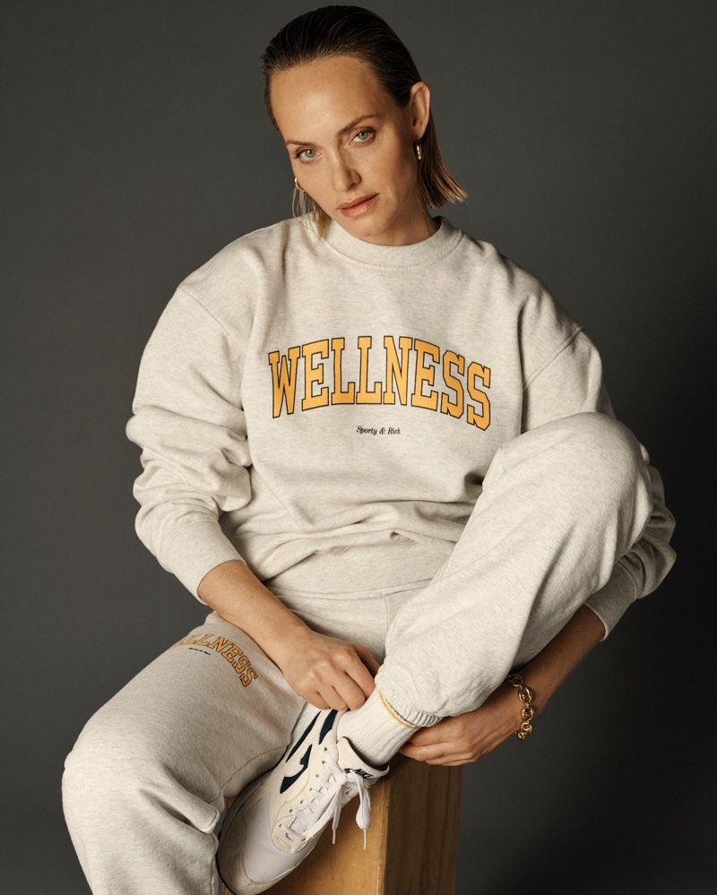 Amber Valletta wears Sporty & Rich spring 2021 collection.