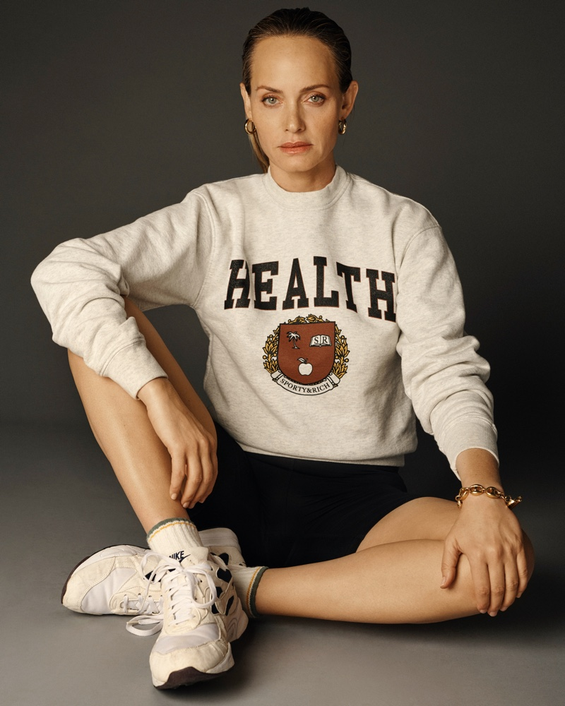 Amber Valletta models Sporty & Rich spring 2021 collection.