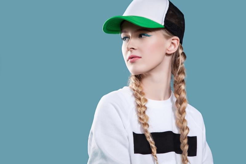 Stylish Blonde Model Pigtails Colorblock Baseball Cap