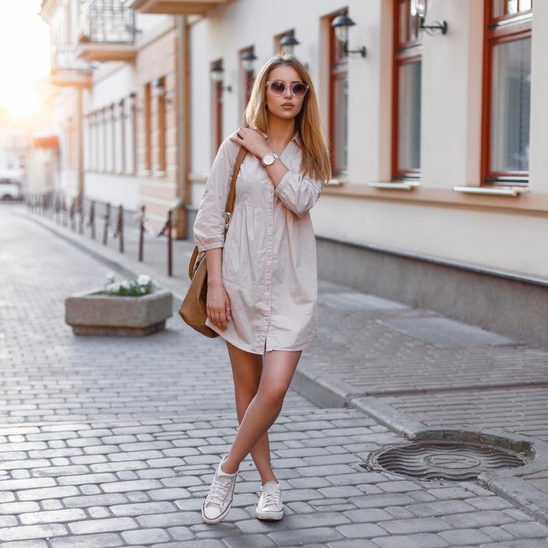 Stylish Woman T Shirt Dress Sneakers Street