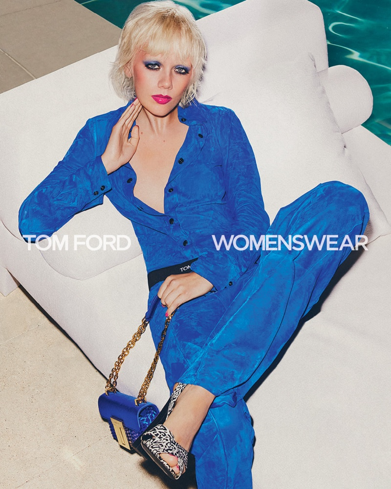 Draped in blue, Marjan Jonkman fronts Tom Ford spring-summer 2021 campaign.