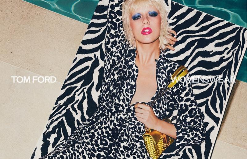 Marjan Jonkman wears animal print in Tom Ford spring-summer 2021 campaign.