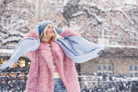 Winter Style Woman Pink Coat Scarf Beanie