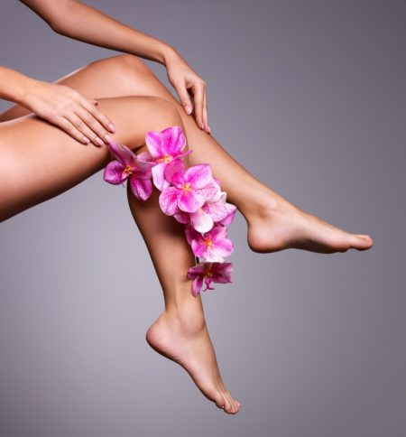 Woman Bare Legs Pink Flowers