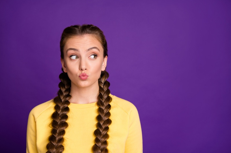 Woman Braided Pigtails Yellow Top Funny Expression