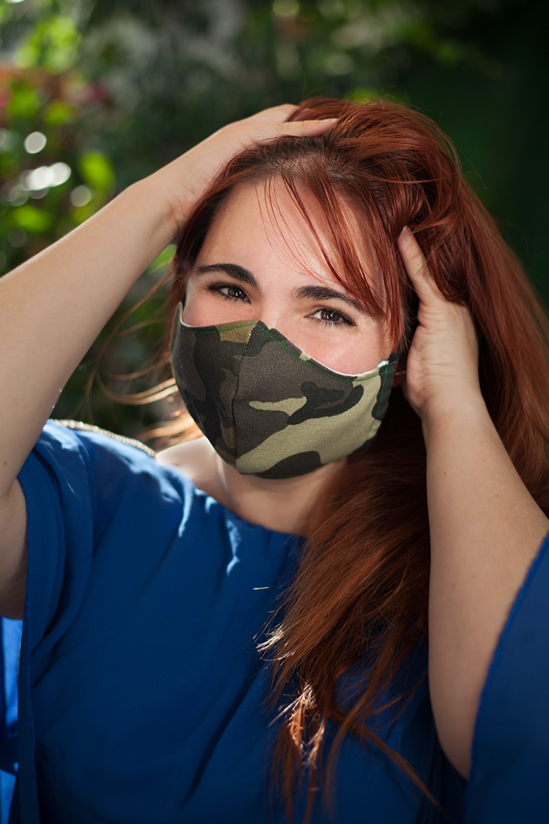 Woman Camouflage Face Mask Red Hair