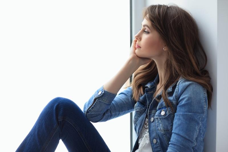 Woman Denim Jacket Thinking Thoughtful Windowsill