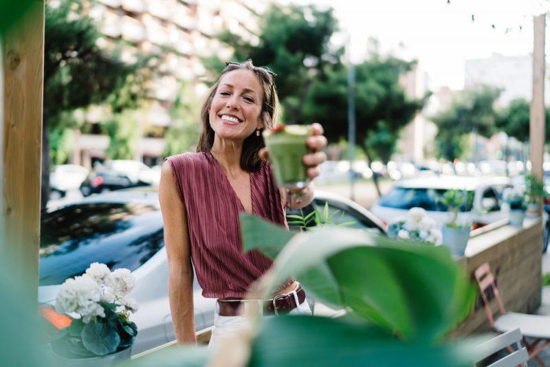 Woman Enjoying Organic Smoothie