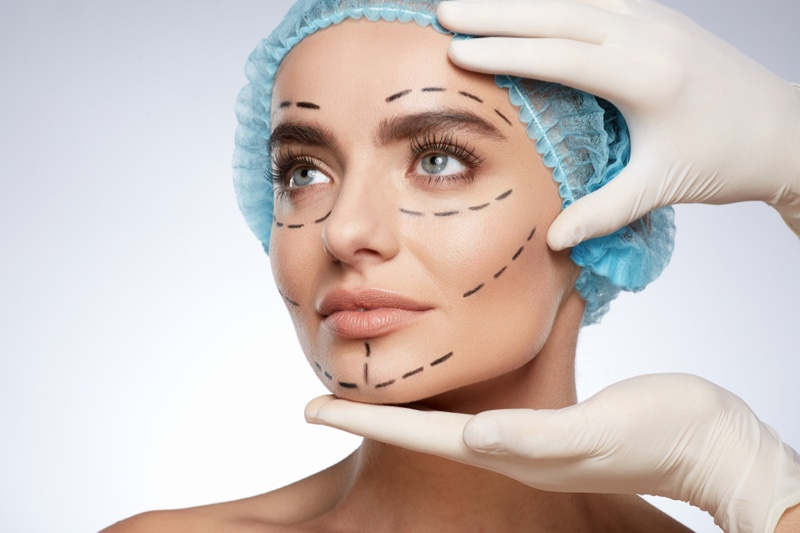 Woman Plastic Surgery Lines Face Concept