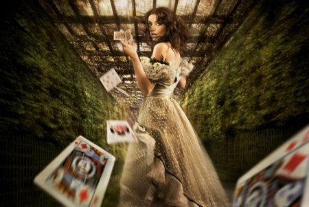 Woman Playing Cards Gown Fantasy Fashion