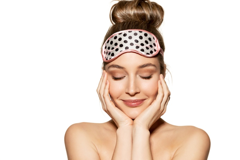 Woman Smiling Sleep Mask Skincare