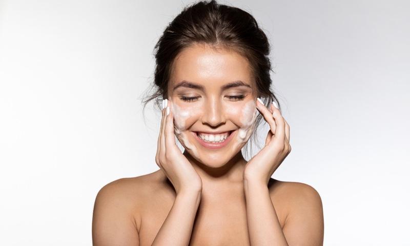 Woman Smiling Washing Face Beauty Skincare