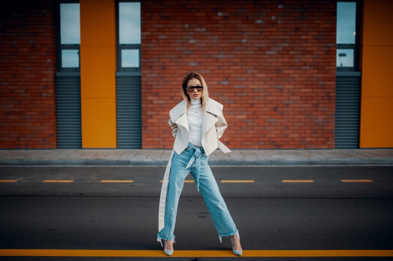 Woman Street White Leather Jacket Blue Jeans Outfit
