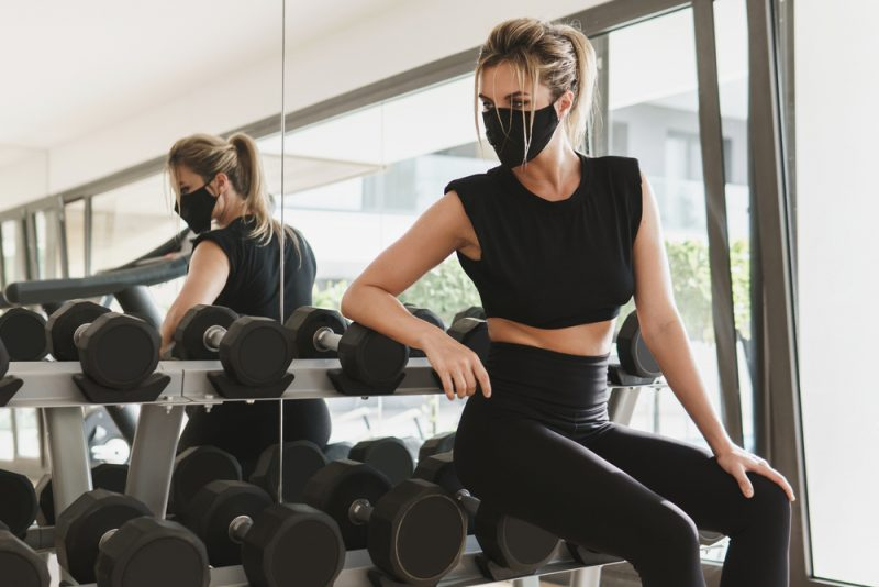 Woman at Gym in Mask