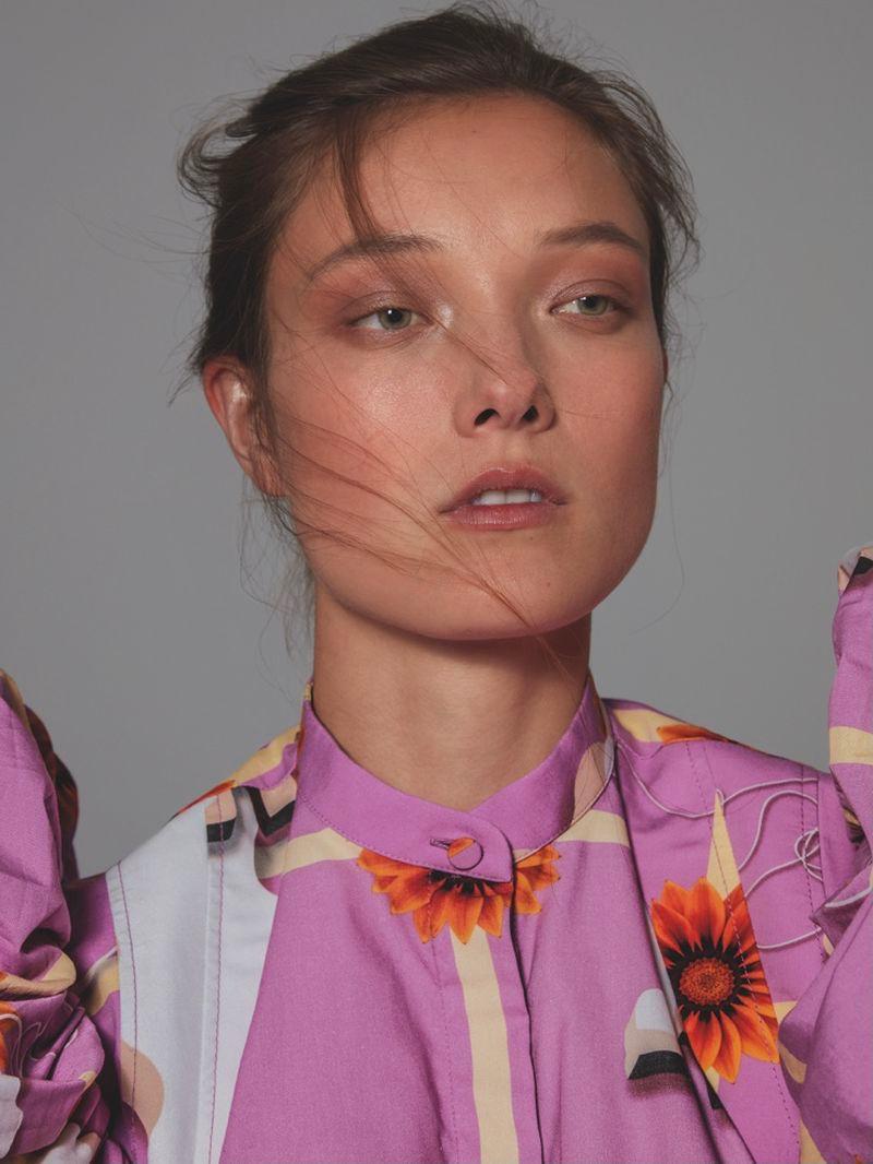 Yumi Lambert Blooms in Floral Fashions for L'Officiel Italia