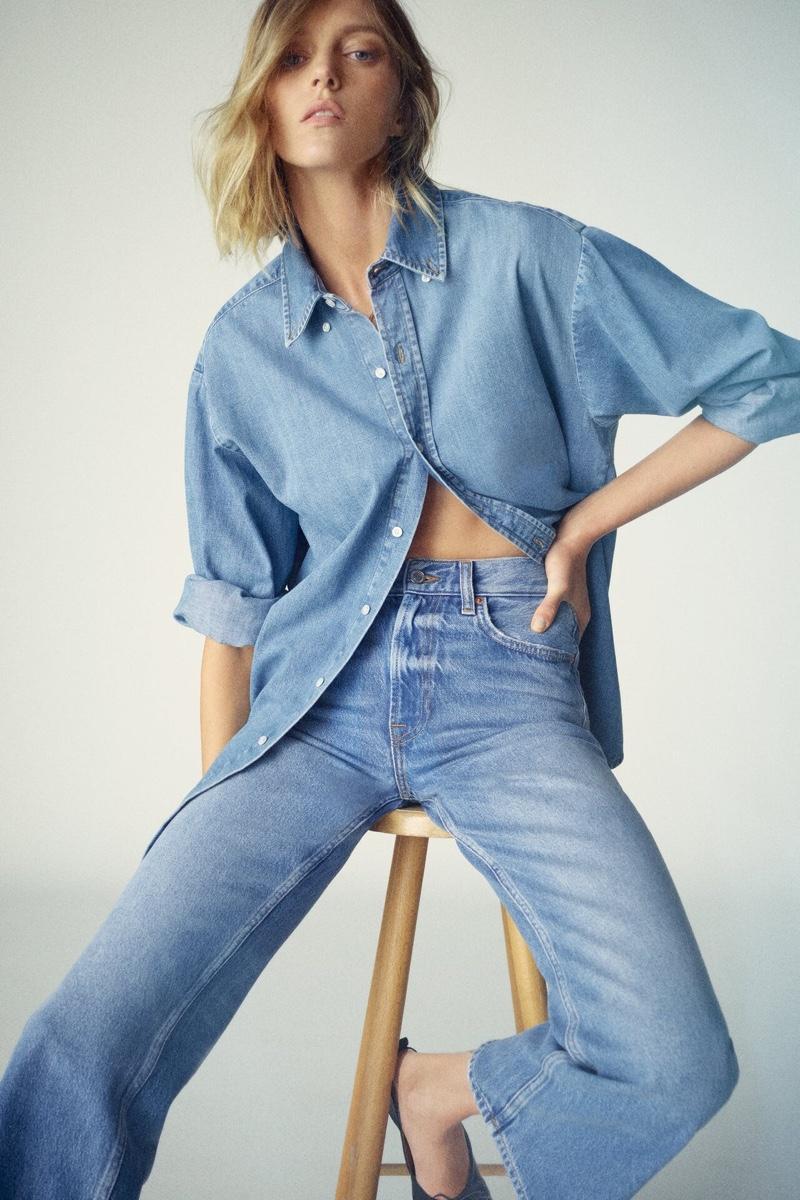 Zara Oversized Denim Shirt and ZW Premium Flared Jeans.