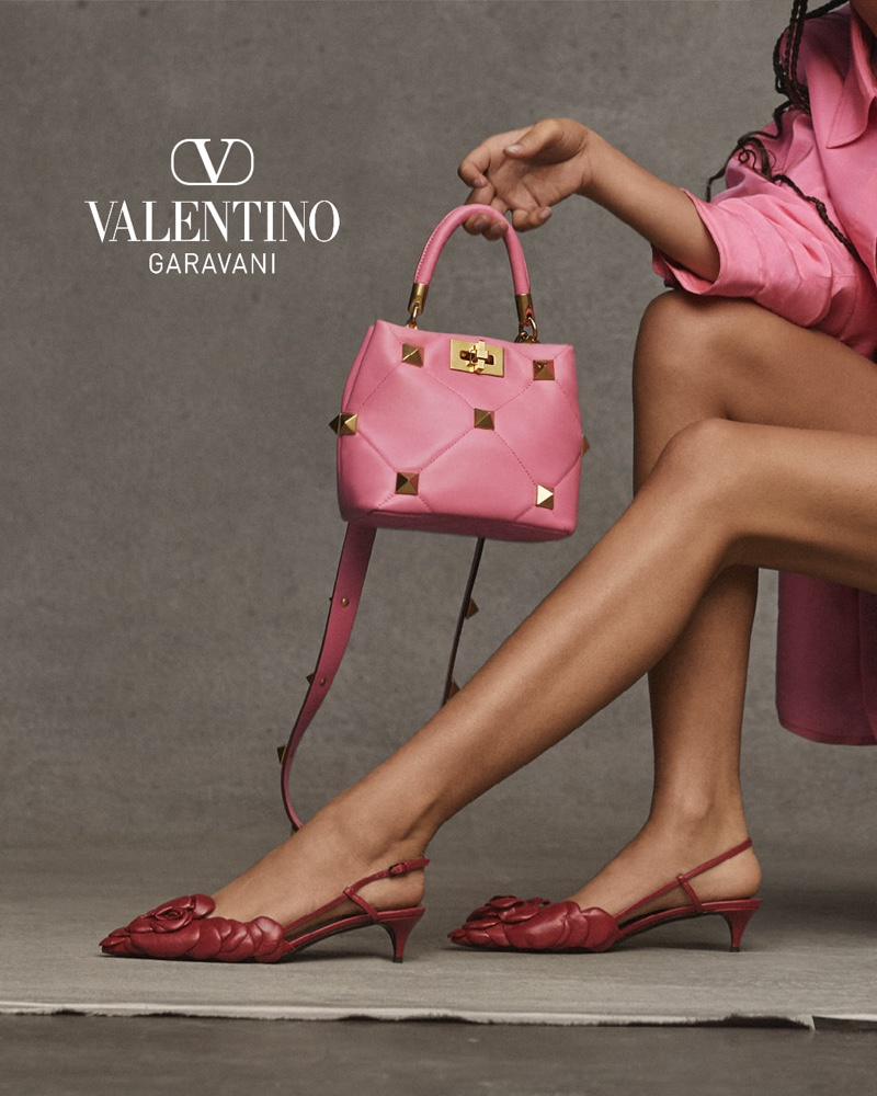 Valentino Roman Stud Top Handle Bag in Pink.