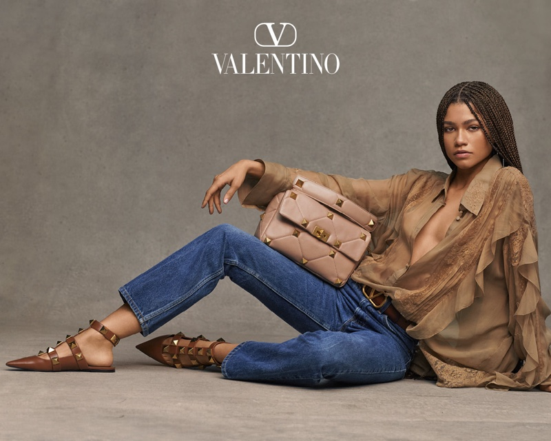 Wearing jeans, Zendaya fronts Valentino Collezione Milano campaign.