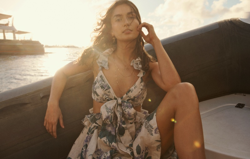 Posing in St. Barts, Andreea Diaconu fronts Zimmermann Swim summer 2021 campaign.