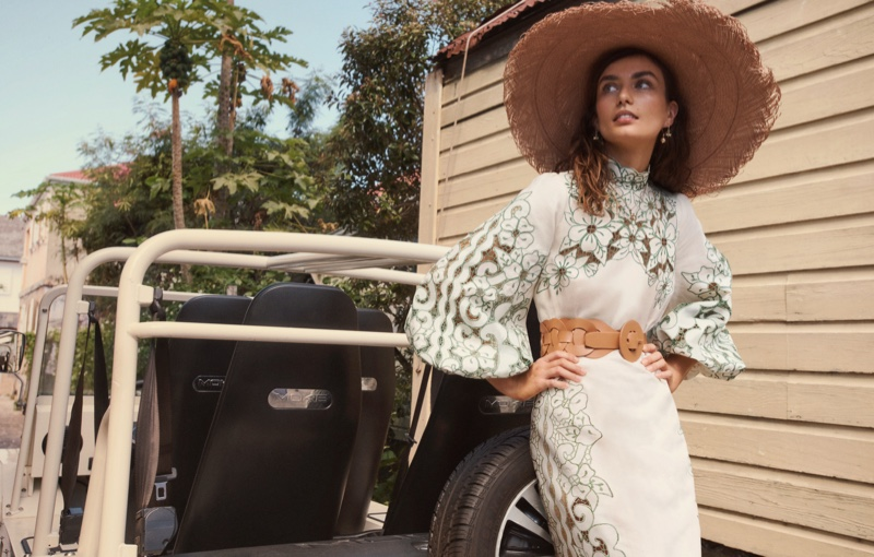 Model Andreea Diaconu poses for Zimmermann Swim summer 2021 campaign.