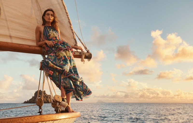 Setting sail, Andreea Diaconu poses for Zimmermann Swim summer 2021 campaign.