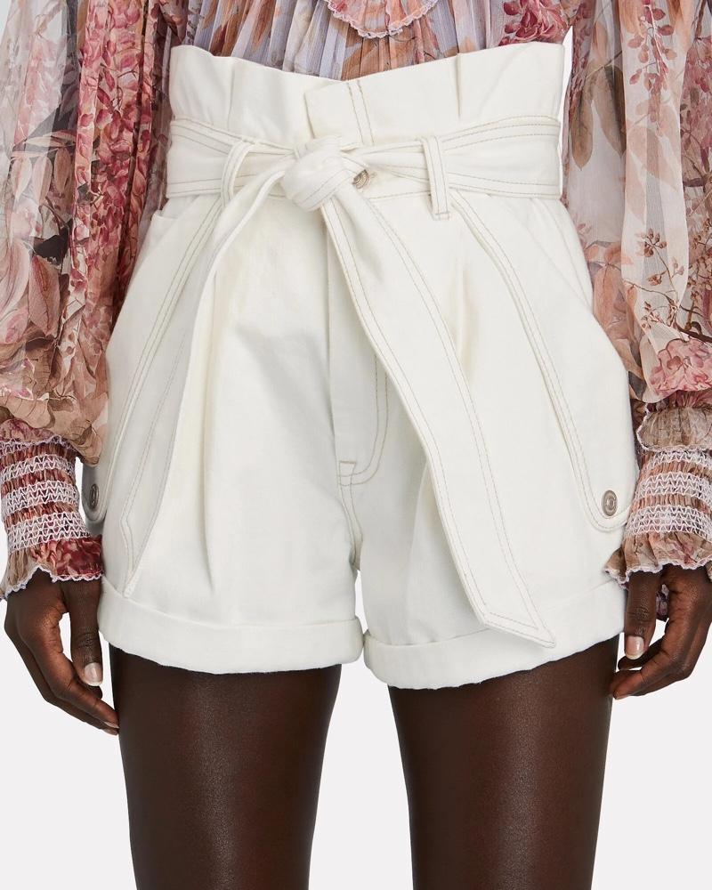 Zimmermann Vintage White Denim Paperbag Shorts $450