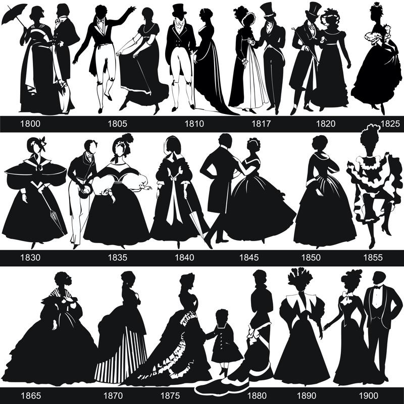 1800s Dresses Womens Fashion Illustration Collage