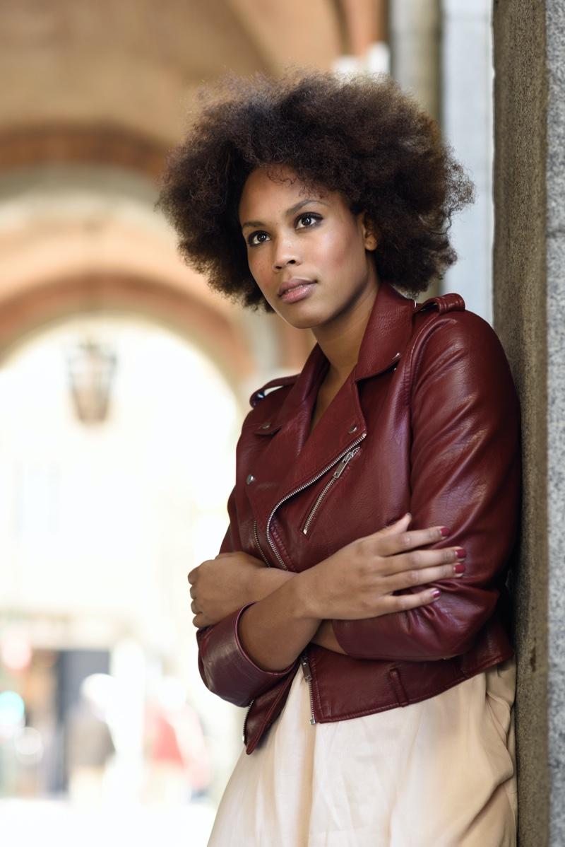 Afro Hair Model Red Leather Jacket Oversized Shirt