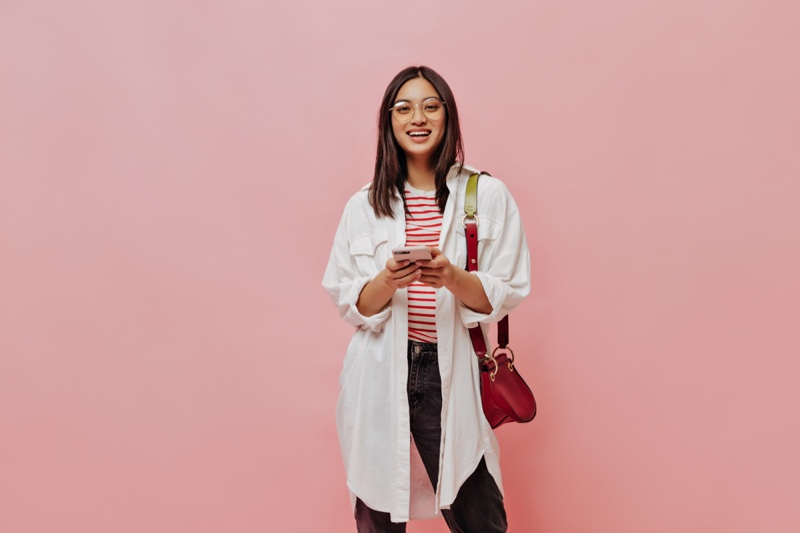 Asian Woman Long Buttonup Shirt Striped Tee Outfit