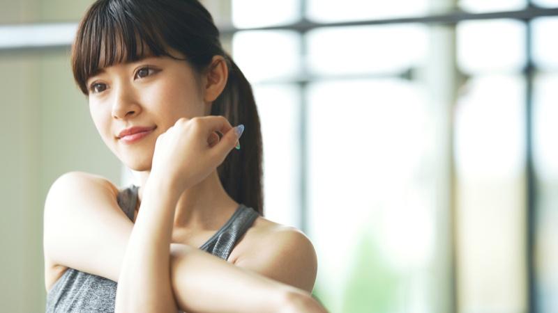 Asian Woman Workout Cropped Image