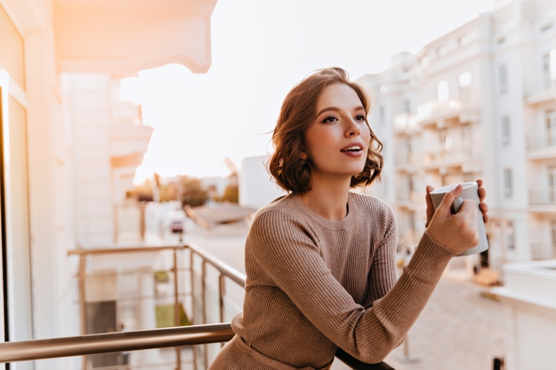Attractive Woman Coffee Cup Balcony