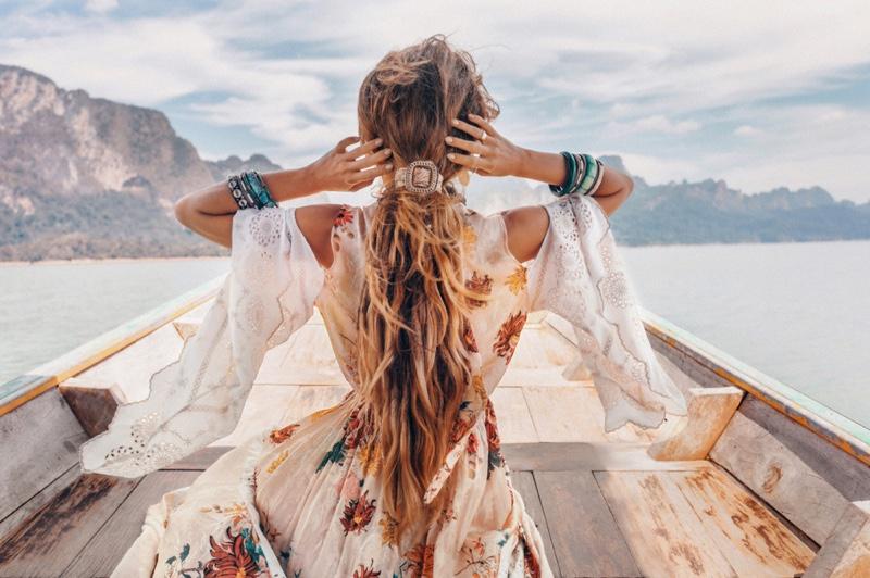 Back of Woman Boho Dress Flutter sleeves