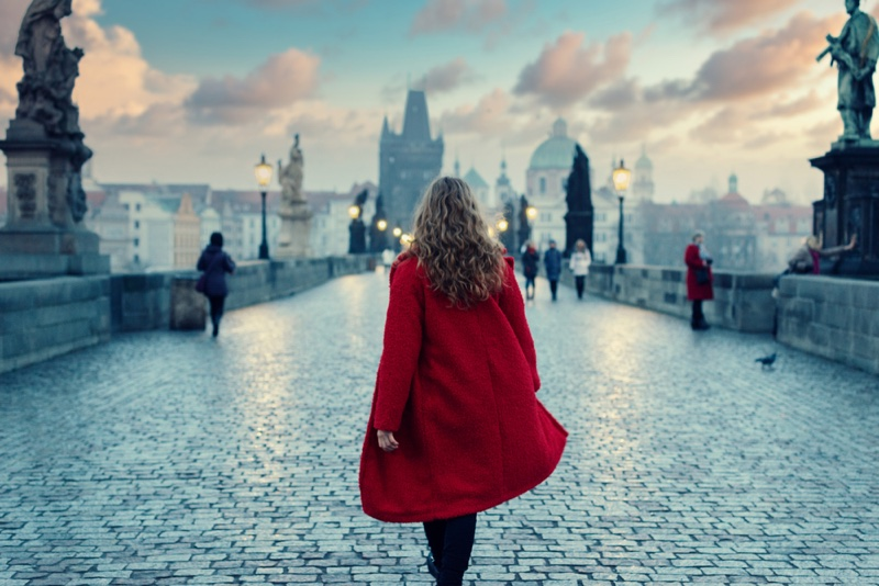 Back Woman Red Coat Prague Charles Bridge