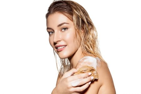 Beauty Woman Using Body Wash Soap