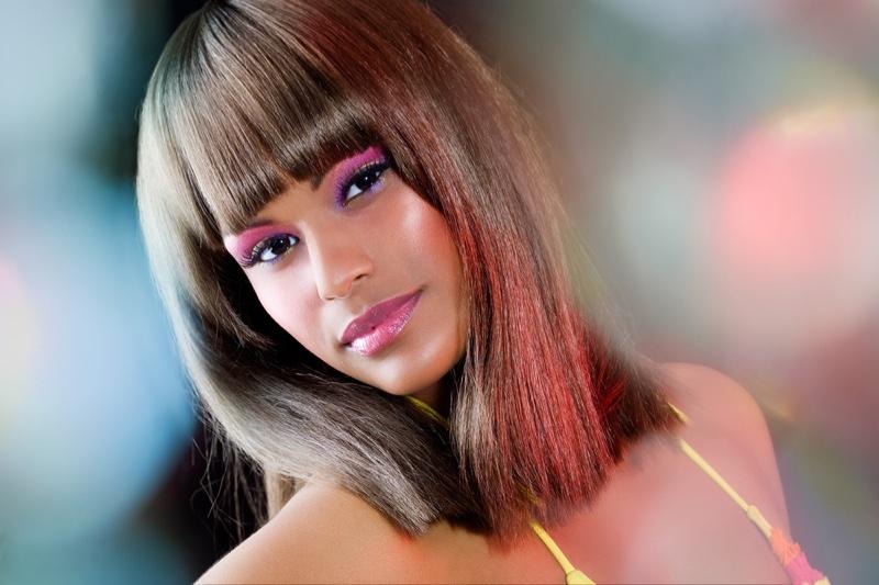 Black Model Brown Medium Straight Wig Bangs Beauty Hairstyle