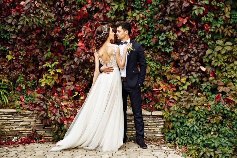 Bride Groom Wedding Outdoors Fashion Leaves