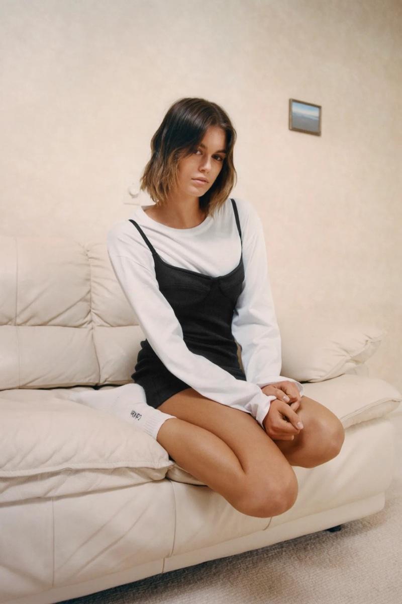 Model Kaia Gerber appears in Heron Preston for Calvin Klein campaign.