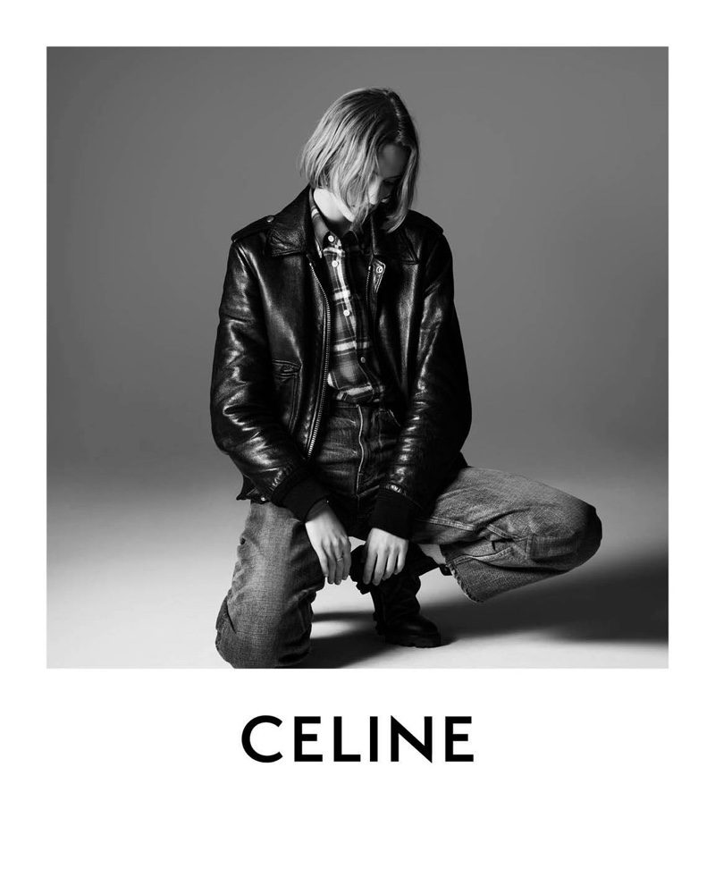 Quinn Mora wears leather jacket in Celine Les Grand Classiques campaign.