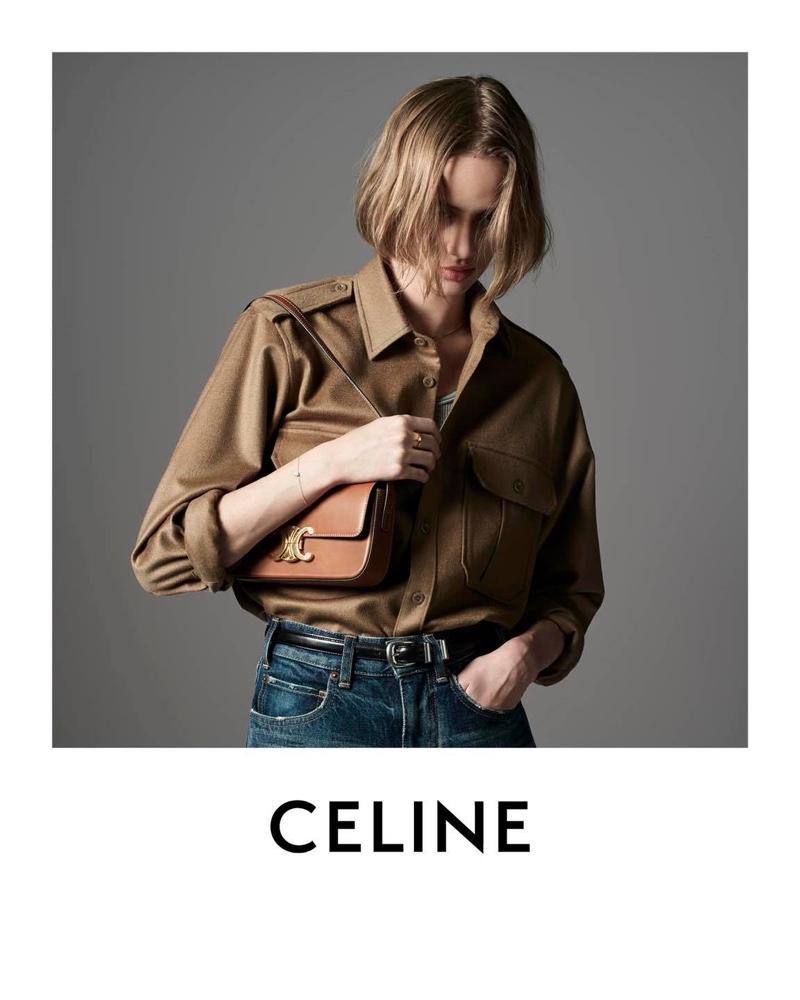 Celine Triomphe shoulder bag featured in Les Grand Classiques campaign.