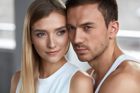 Couple Beauty Skincare Male Female Models