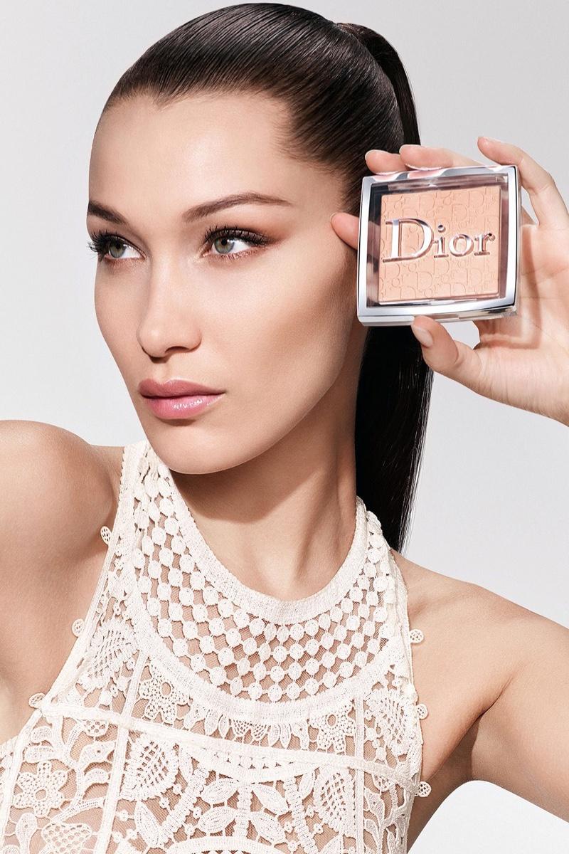 Bella Hadid poses for Dior Backstage Powder-no-Powder makeup campaign.