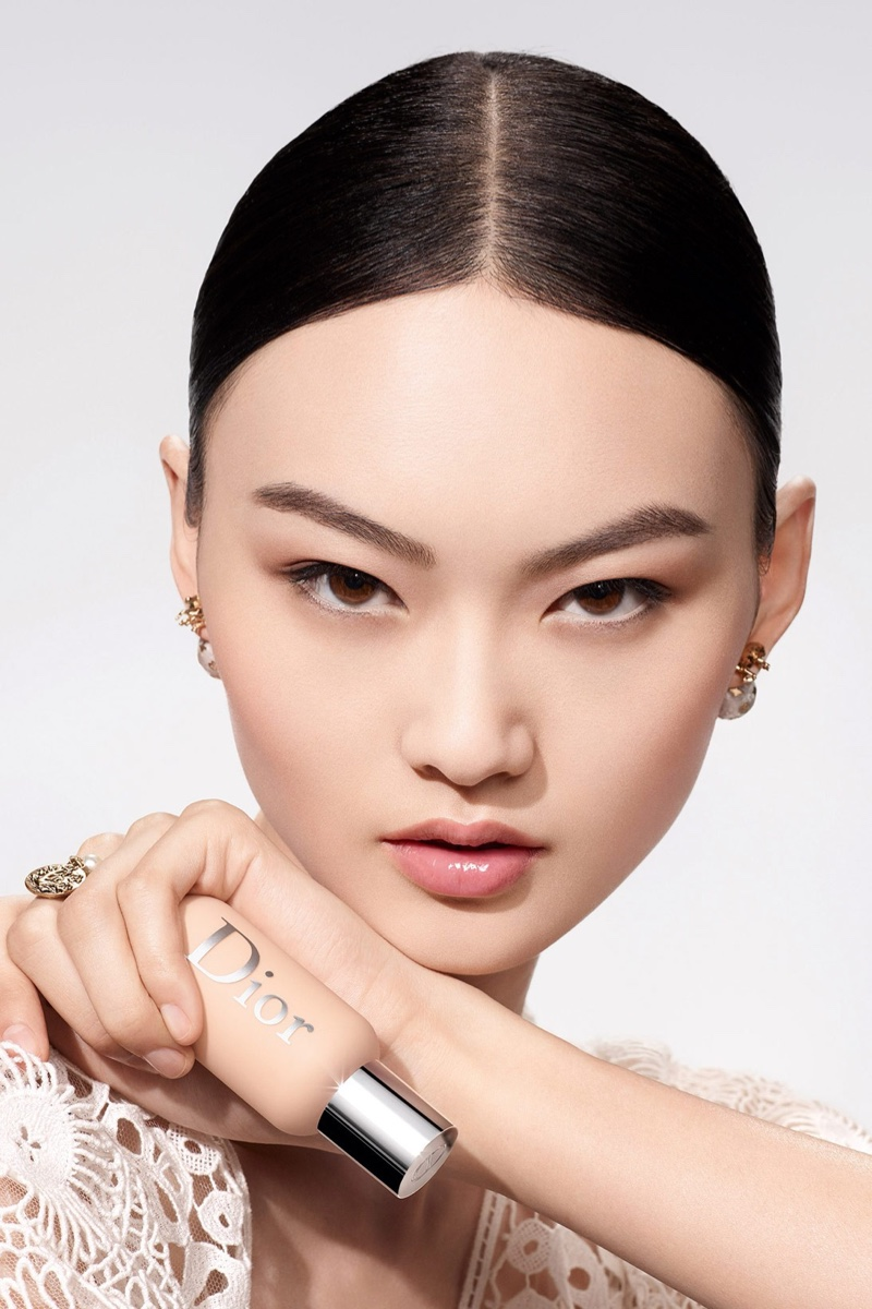 He Cong poses for Dior Backstage Face & Body Foundation makeup campaign.