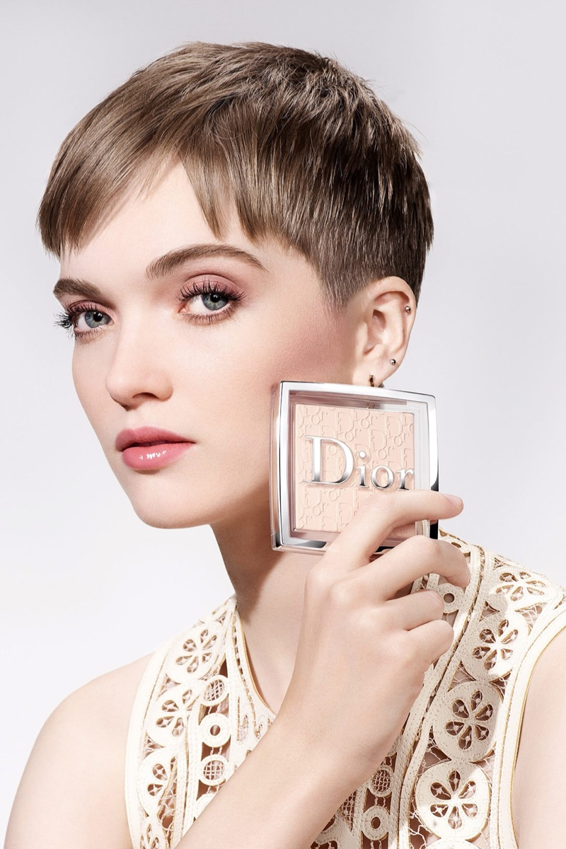 Ruth Bell appears in Dior Backstage Powder-no-Powder makeup campaign.