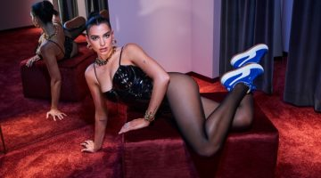 Singer Dua Lipa shows off PUMA Suede Mayu sneaker.