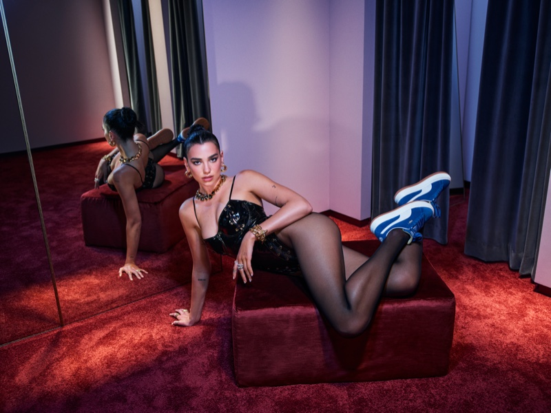 Striking a pose, Dua Lipa fronts PUMA Suede Mayu sneaker campaign.