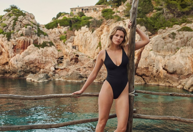 Edita Vilkeviciute poses in Mango 2021 swimwear.