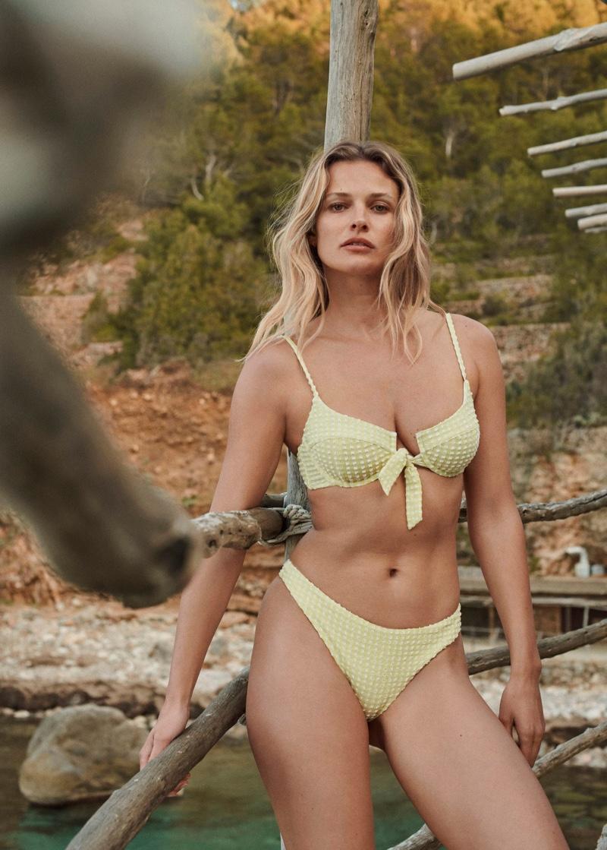 Edita Vilkeviciute poses in Mango check bikini top and bottom.
