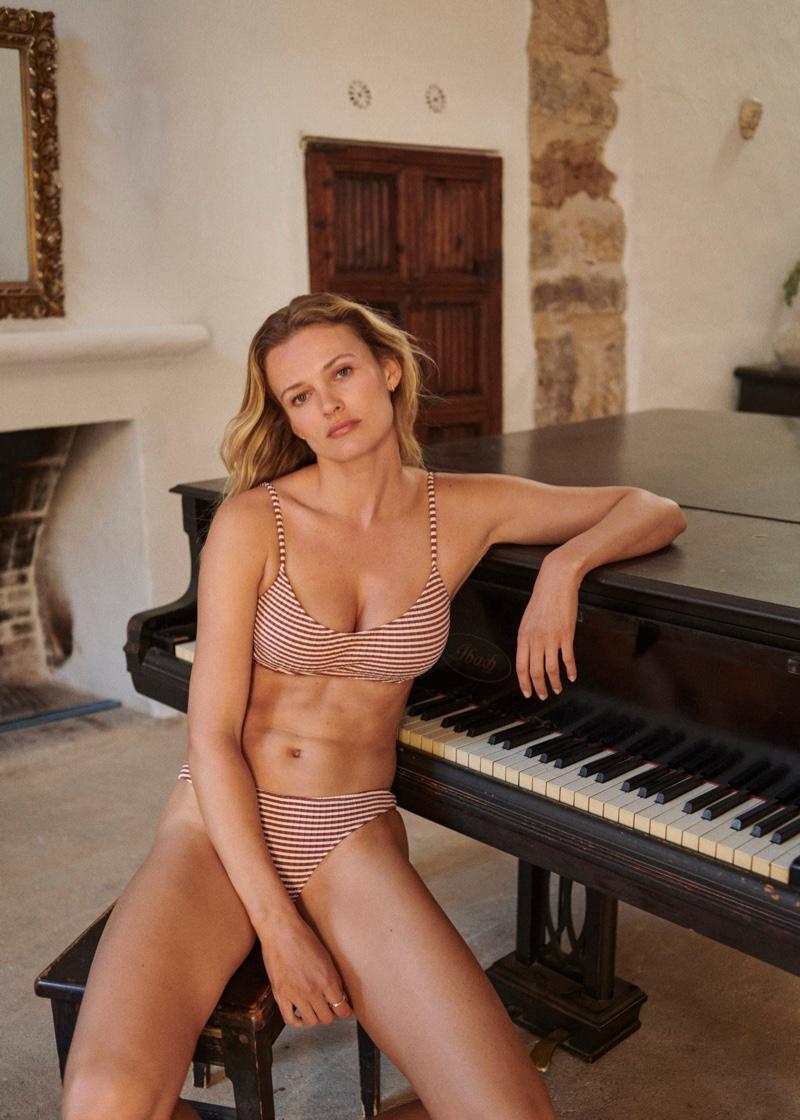 Mango Striped Bikini Top and Bikini Bottom.
