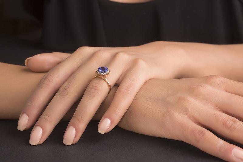 Engagement Ring Blue Diamond Model's Hand