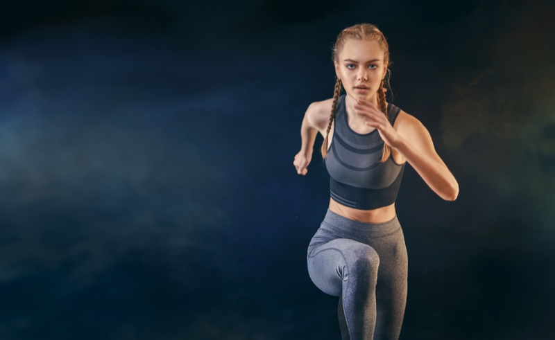 Fitness Model Running Grey Activewear Outfit Workout